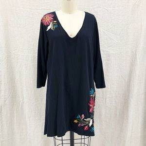 JOHNNY WAS Black Cotton Embroidered Floral Tunic